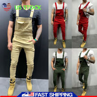 Mens Casual Denim Carpenter Overalls Long Bib Jumpsuits Moto Biker Jean Pants US