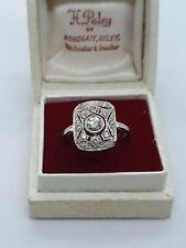 Vintage Platinum Diamond Panel Ring