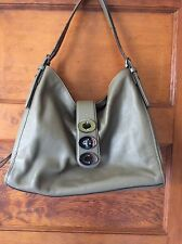 Coach Carlyle Olive Grey Madison Triple Turn lock Leather Shoulder Bag 32325