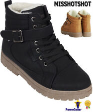 New Ladies Ankle Boots Girls Women's Hi Top Trainers Fur Winter Flat Shoes Size