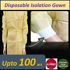 Disposable Yellow Isolation Gown Plus Knit Cuff Tie Back Splash Resistant up100x