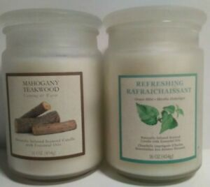 2 Candles w/ Essential Oils ~16 oz Each ~ Refreshing Rafraic & Mahogany Teakwood