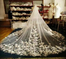 Wedding Bridal Veils Cathedral Ivory White Top Lace Elegant + Comb Flowers 2018