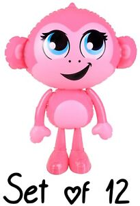 """(Set of 12) 24"""" Pink Baby Monkey Inflatable Inflate Blow Up Toy Party Decoration"""