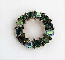 "Vintage Signed KARU ARKE Green & Aurora Borealis Rhinestone Pin Brooch 1 3/4"""