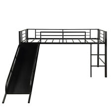 Twin Size Loft Bed With Slide Wood Low Sturdy Loft Bed For Kids Bedroom 3 Color