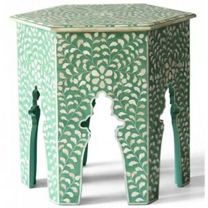 Made to Order Indian Handmade Camel Bone Inlay Round Side Table Green Floral