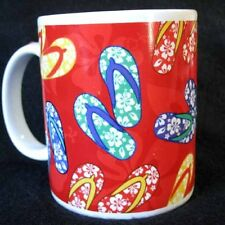 SLIPPAS for ABC STORES Colorful Flip-Flops on Red Mug  White Ceramic 2003 Hawaii