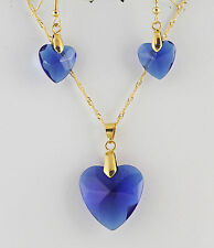 """Necklace & Earrings Sapphire Blue Glass Hearts 20"""" Singapore / Hooks Gold Plated"""