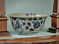"DECORATIVE BOWLS -  ""SHANGHAI GARDEN"" BLUE & WHITE PORCELAIN CENTERPIECE BOWL"