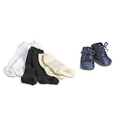 """American Girl ADDY SHOES & SOCKS for 18"""" Doll Cream Laces Navy Retired Boots NEW"""