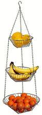 3 TIER CHROME HANGING FRUIT AND VEGETABLE BASKET HOLDER KITCHEN BASKET CADDY