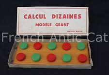 Ancien jeu éducatif Calcul dizaines géant bois Materiel Martin 43*17 ecole P632