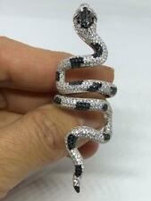 Solid 925 Real Silver Beautiful White & Black Zircon Snake Fashion Stud Ring