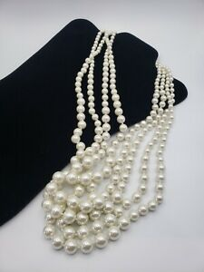 Stunning Multi Strand Off White Faux Pearl Statement Necklace