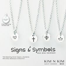 Signs & Symbols Mini Disc Coin Necklace Personalised Gift Kid Children Girl