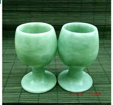 A pair Natural Hand Carven jade jadite goblet Carven Cup wineglass drinking Cup
