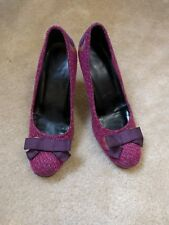 Amanda Smith Baby Doll Purple/Pink/Red Tweed Pumps, purple bow: size 7.5