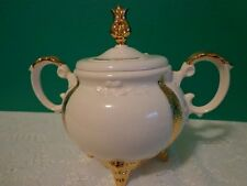 Vintage Loma Sugar Bowl Off White Gold Porcelain Decorative Use As Is