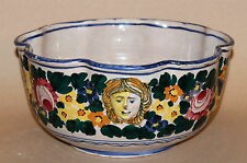 Big Antique Italian Faience Majolica Turned Pottery Fruit Centerpiece Masks Bowl