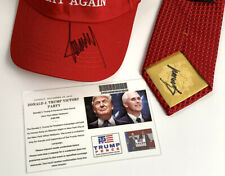 RARE Signed Donald Trump ( MAGA HAT + NECK TIE  )  + TICKET 2016 Victory Party