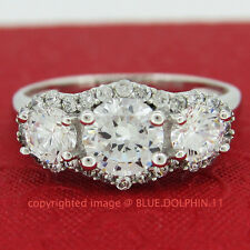 Genuine Solid 9ct White Gold Engagement Wedding Trilogy Rings Simulated Diamonds