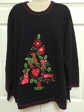 Quacker Factory Christmas Sweater Sz 1X Light Up Tree W/Remote Beautiful! EUC