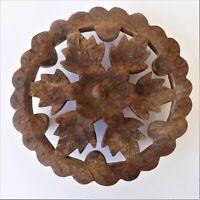 Vintage Wooden Trivet Round Hand Carved Floral Indian Wood Treen Folk Art Teak /