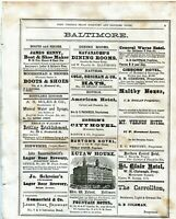 1876 WV STATE DIRECTORY PAGE ADS FROM MANY LOCAL BUSINESSES BALTIMORE MD