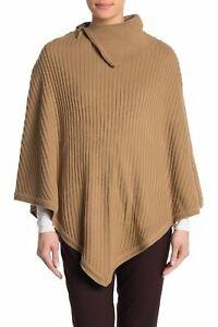 MICHAEL KORS rib knit sweater women's poncho topper -CAMEL/TAN