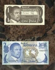 Banknotes of World Botswana 2 Pula 1982 P 7a sign 3 1 Pula 1983 P 6 UNC