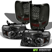 2004-2008 Ford F-150 Smoke Halo Projector Headlights+Smoke LED Tail Lights L+R