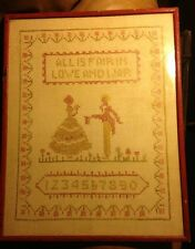 Vintage Sampler Antique Original Sewn Embroidered Needlework Verse Numbers Frame