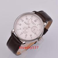 42mm PARNIS Weiß dial Date Energie reserve SS ST1731 Automatisch Uhr mens watch