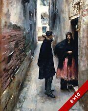 A NARROW STREET IN VENICE VIA VENEZIA ITALY OIL PAINTING ART REAL CANVASPRINT