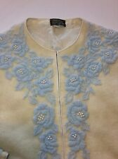 Womens Vintage Hand Beaded Satin Trim Cardie by Johnson Ivory/ Baby Blue Sz42 M