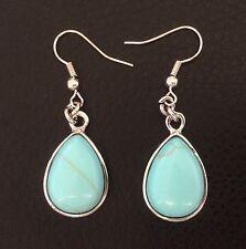 Silver Pear Tear Drop Cabochon Turquoise Fishhook Dangle Drop Earrings
