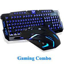 Illuminated LED Backlight USB Wired Gaming Keyboard Mouse Multimedia PC Combo