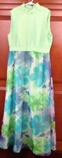 VINTAGE WOMEN'S Handmade 1960-70'S hippie mod Long DRESS mint green Flowers EUC