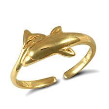 finished dolphin design toe ring. Solid 9ct yellow gold hand