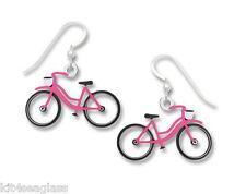Sienna Sky Pink & White BICYCLE EARRINGS Ladies Bike Sterling Vintage 1891 + Box