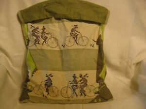 vintage clothespin bag holder clothesline Bicyclers bicycle riders w lot of pins