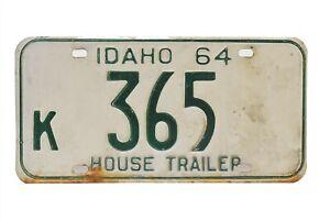 1964 Idaho License Plate K 365 House Trailer