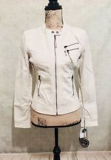 ⭐️ BLANC NOIR ⭐️ New Woman's Small S Ivory White Spring Motorcycle Jacket Coat