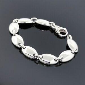 """Tiffany&Co. Italy 925 Sterling Silver Fancy Oval Link Pebble Chain Bracelet 7.5"""""""