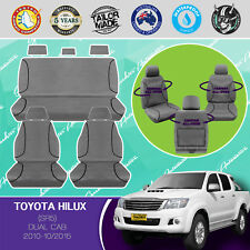 FOR TOYOTA HILUX SR5 2010-10/2015 CANVAS WATERPROOF TAILOR MADE GREY SEAT COVERS