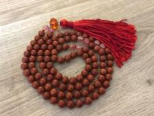 108 Meditation Mala Beads /Necklace : Red Jasper & Cherry Agate Gemstones