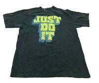 Nike Shirt Size Medium M Loose Fit Blue Yellow Tee Short Sleeve Just Do It Retro
