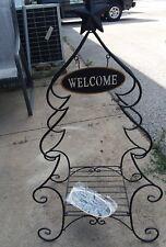 "Black Folding Metal Plant Stand ""Welcome"" Christmas Tree Decor Shelf Porch Foyer"