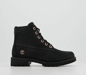 Womens Timberland Slim Premium 6 Inch Boots Black Rose Gold Chain Boots
